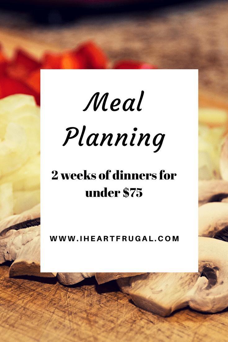 Meal planning – 2 weeks under $75