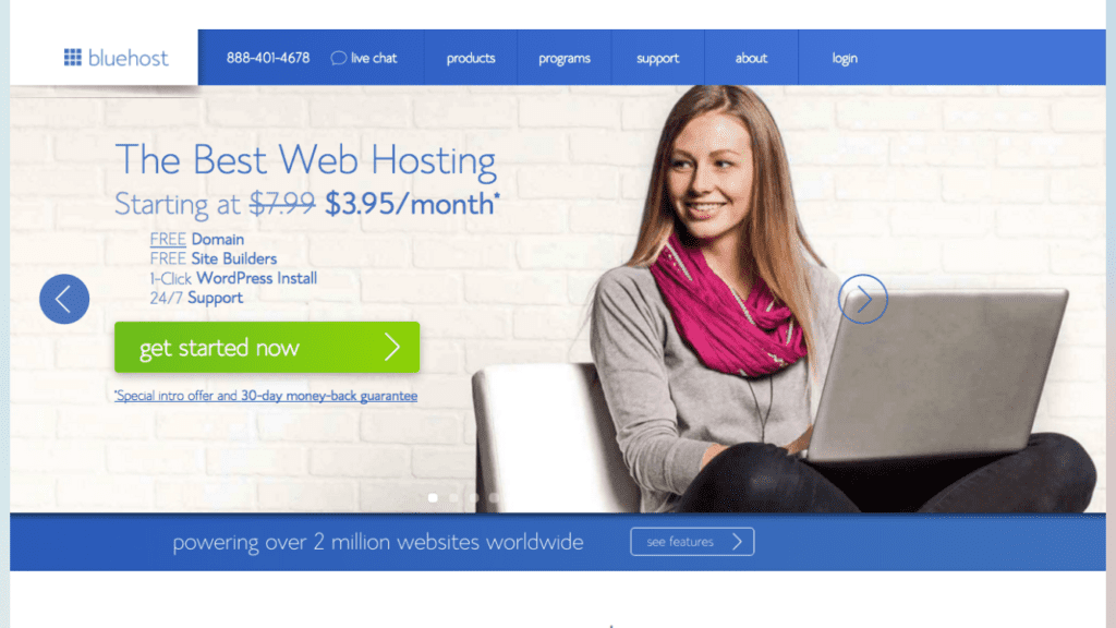 Bluhost Get Started Page