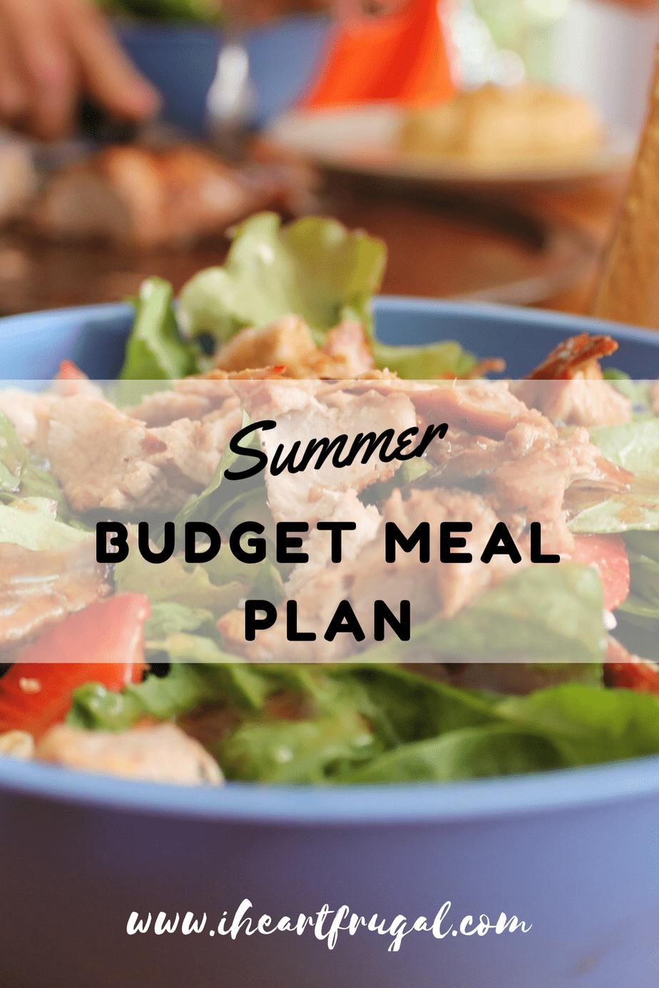 Summer Budget Meal Plan