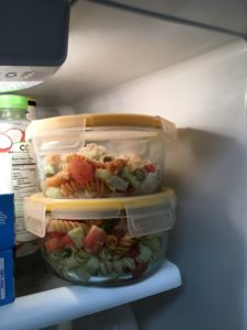 Store your pasta chicken cucumber salad for leftovers