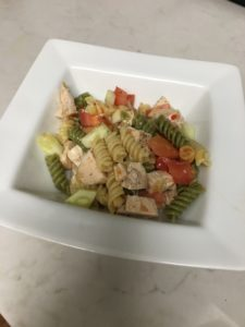 Ready to eat your pasta chicken cucumber salad