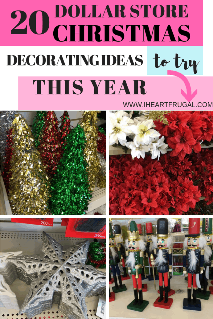 20 Dollar Store Christmas Decorating Ideas to spruce up your Holiday decorating. #Christmas #Christmasdecorating #christmasideas #dollarstore
