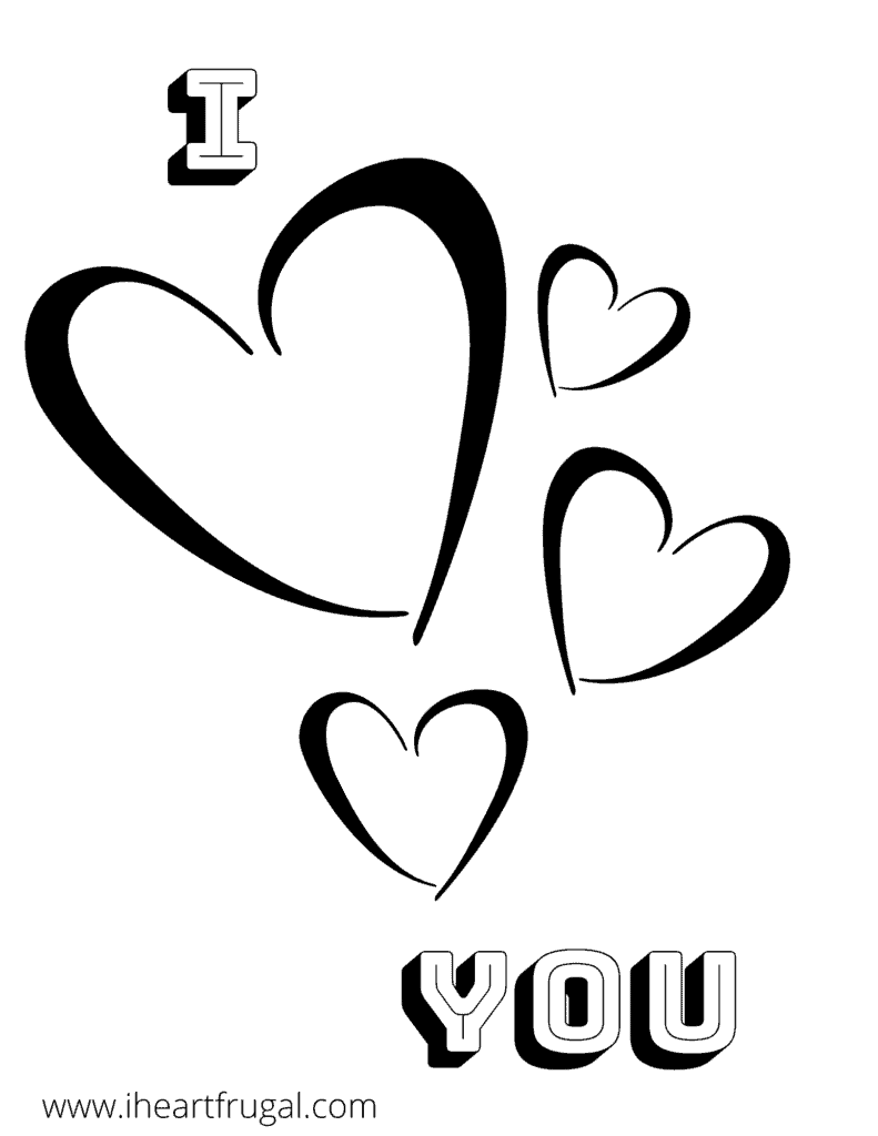 I Love You Valentines Day Coloring Free Printable #freeprintable #Valentinesday #coloringsheet