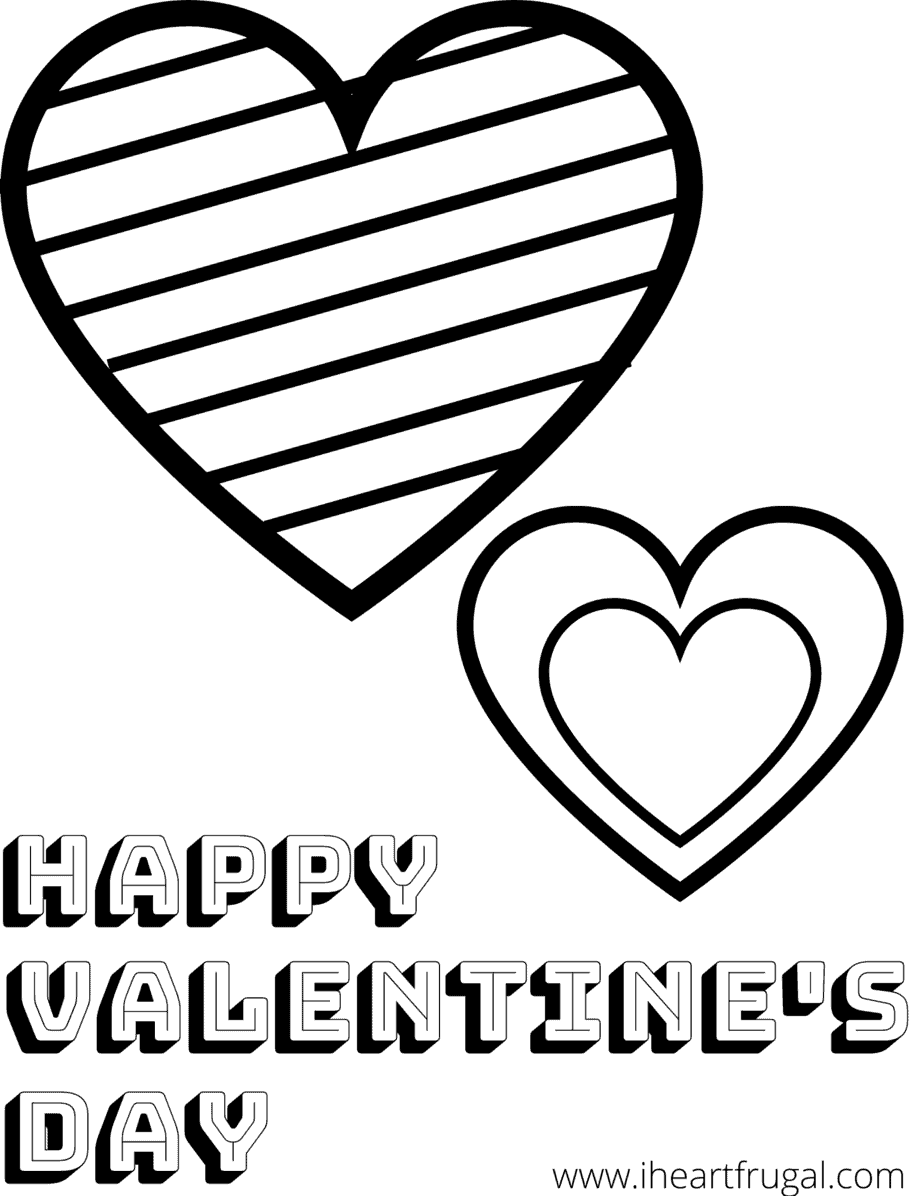 Heart_Valentine's Day Coloring Sheet - I Heart Frugal