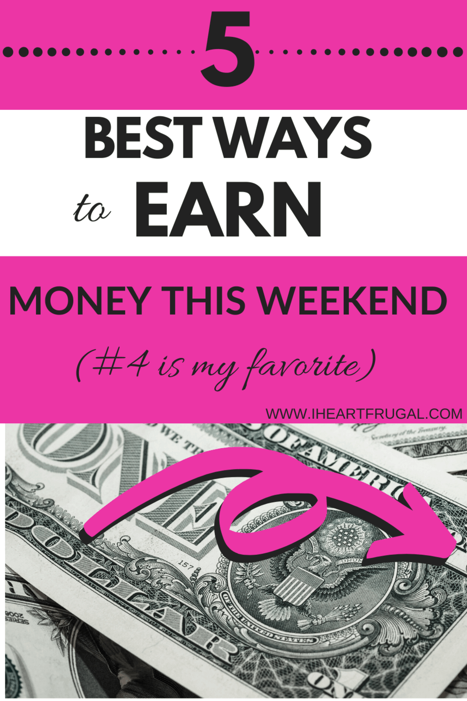 5 Best Ways to Earn Money From Home This Weekend. Learn how to make money from home with these 5 easy ways to earn money from home #makemoney #workfromhome #sidehustle