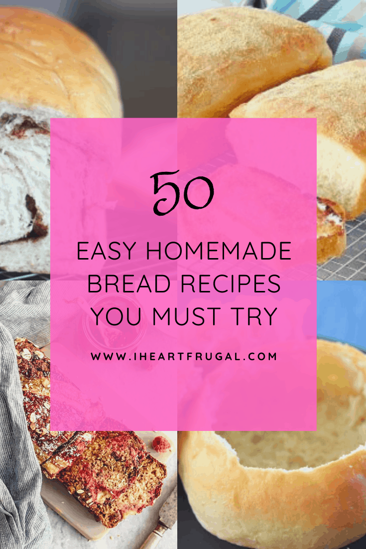 50 Easy Homemade Bread Recipes - Try these simple bread recipes and bring the freshness back to your house. Enjoy these yeast and non yeast bread recipes today. #recipes #easyrecipes #breadrecipes