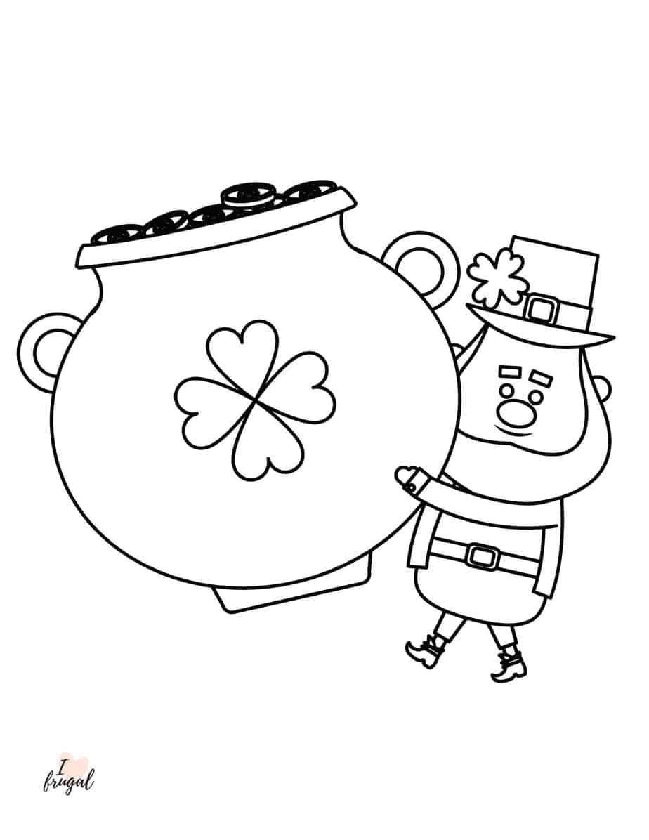 Leprechaun and Pot of Gold Free Printable Coloring Sheet