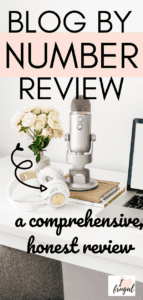 Words: Blog by Number Course Review - An Honest, Comprehensive Review - White desk with computer, microphone, and flower