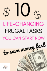 10 Frugal Tasks You Can Do Today To Save Fast- pink back, money signs, dollar bills