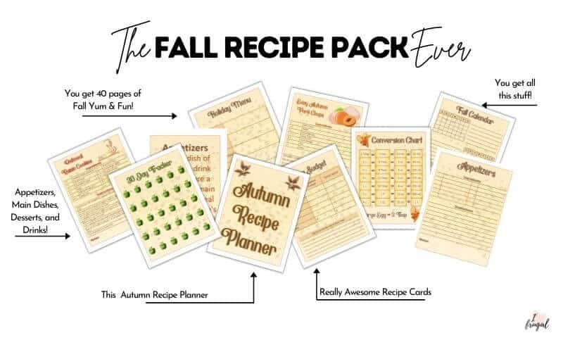 Autumn Recipe Pack - 40 page pdf with fall recipes, dividers, seating chart, budget, meal plan and more!
