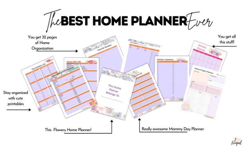 Flowery Home Planner,- Be more organized at home, mama! Emergency numbers, meal plan, to-do list, day planner, notes, undated calendar, and much more!